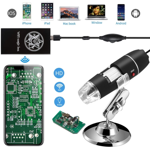Jiusion WiFi USB Digital Handheld Microscope 40 to 1000x Wireless Magnification Endoscope 8 LED Mini Camera with Phone Suction Compatible with iPhone