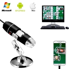 Jiusion 40 to 1000x Magnification Endoscope 8 LED USB 2.0 Digital Microscope Mini Camera with OTG Adapter Compatible with Mac Windows Android Linux