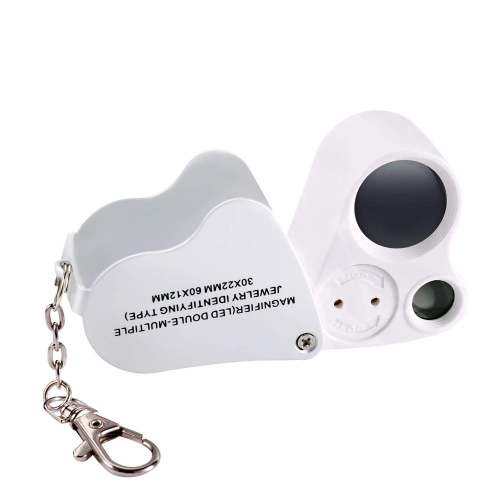 Jiusion Portable Lighted LED Illuminated Jewelry Magnifier 30X 60X Dual Lens Eye Loupe Magnifying Glasses Micro Microscope with Keychain and Lanyard