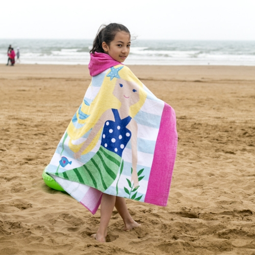 Cotton Printed Hoodie Beach Wrap For Kids