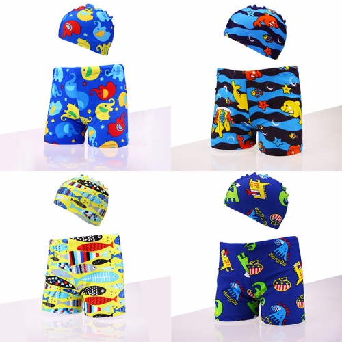 Cartoon Printed Drawstring Swim Shorts with Hat For Boys