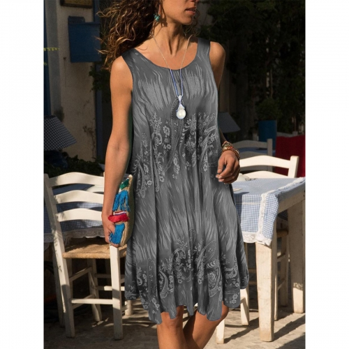 Sleeveless Knee Length Printed Shift Dress