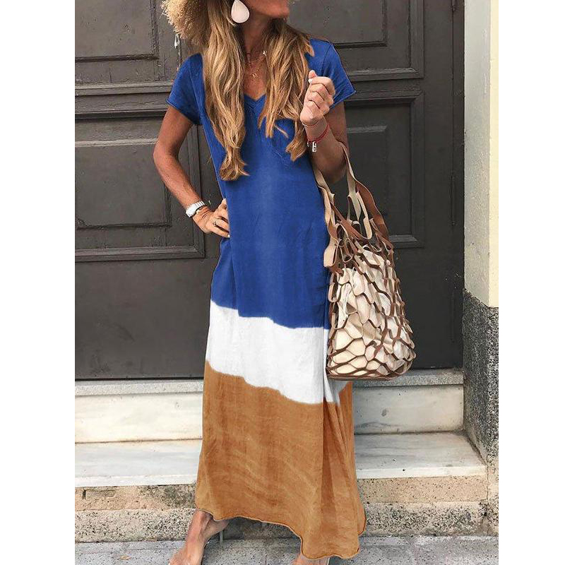 V Neck Color Block Short Sleeve Maxi Dress