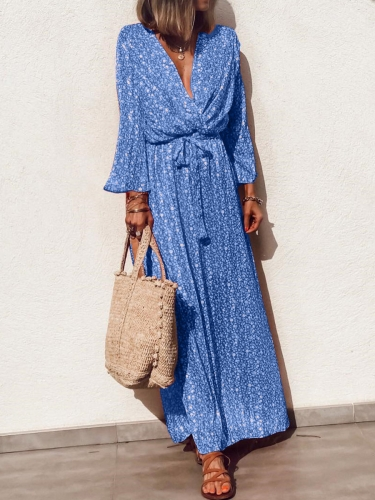 Long Sleeve Floral Printed Belted Maxi Dress