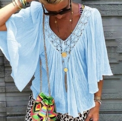 V Neck Half Sleeve Casual Blouse