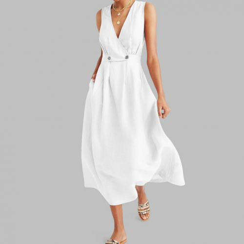 V Neck Sleeveless A Line Maxi Dress