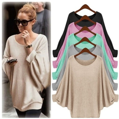 Batwing Sleeve Solid Color Casual Top