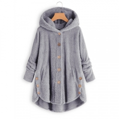 Single Breasted Hooded Winter Fuzzy Coat For Women