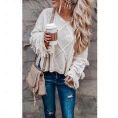 Solid Color Fringe Knitted Pullover Sweater