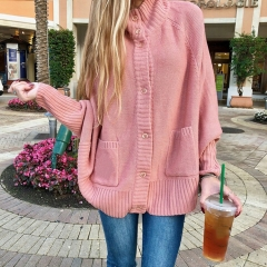 High Neck Button Up Batwing Sleeve Cardigan