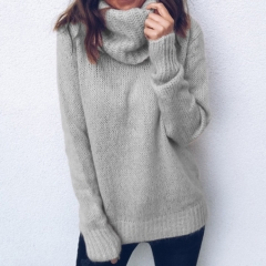 Solid Color High Neck Pullover Knitted Sweater