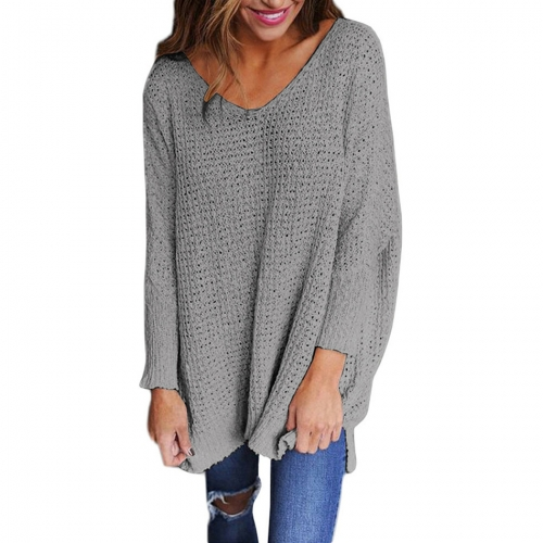 V Neck Casual Knitted Pullover Sweater