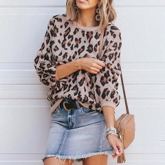 Crew Neck Leopard Print Pullover Sweater